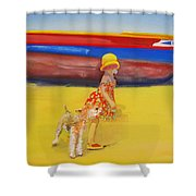Brightly Painted Wooden Boats With Terrier And Friend Shower Curtain