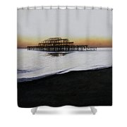 Brighton West Pier-tranquil Sunset Shower Curtain