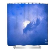 Brilliant Blue Cloud Formation With Sun Glow Shower Curtain