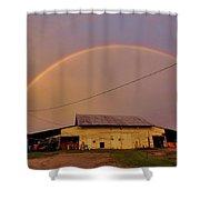 Brilliant Evening Double Rainbow Shower Curtain