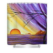 Brilliant Purple Golden Yellow Huge Abstract Surreal Tree Ocean Painting Royal Sunset By Madart Shower Curtain