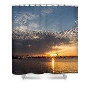 Brilliant Toronto Skyline Sunrise Over Lake Ontario Shower Curtain