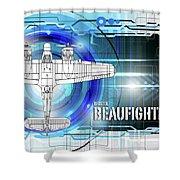 Bristol Beaufighter Blueprint Shower Curtain