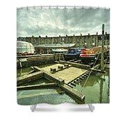 Bristol Barge Dry Dock  Shower Curtain