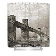 Britannia Bridge Across Menai Strait Shower Curtain