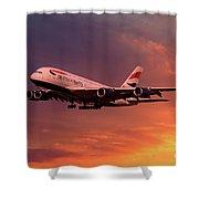 British Airways A380 G-xlef Shower Curtain