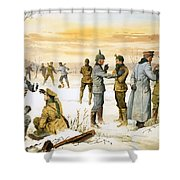 British And German Soldiers Hold A Christmas Truce During The Great War Shower Curtain