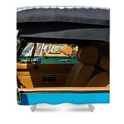 British Car Blue Shower Curtain