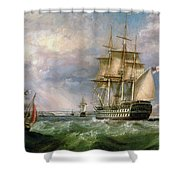 British Men-o'-war Sailing Into Cork Harbour  Shower Curtain