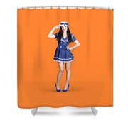 British Navy Blue Pin Up Girl Saluting Shower Curtain