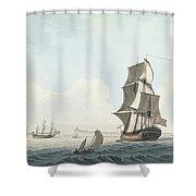 British Single Decker Off The Coast Shower Curtain