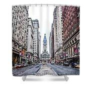 Broad Street Facing City Hall In Philadelphia Shower Curtain