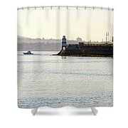 Brockton Point Lighthouse On Peninsula At Stanley Park Shower Curtain