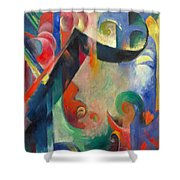 Broken Forms By Franz Marc Modern Bright Colored Painting  Shower Curtain