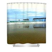Broken Reflection Frisco Pier 2 4/25 Shower Curtain
