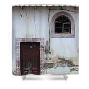 Broken Window And Wood Door Shower Curtain