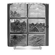 Broken Window In Black And White Shower Curtain