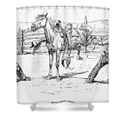 Bronco Busters Saddling Shower Curtain by Granger