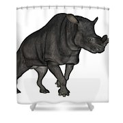 Brontotherium Isolated On White Shower Curtain