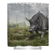 Brontotherium Wander The Lush Late Shower Curtain by Walter Myers