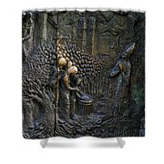 Bronze Sculptured Church Door - Slovenia Shower Curtain