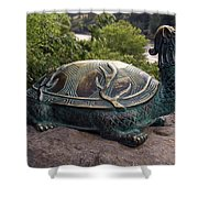 Bronze Turtle Dragon Sculpture Shower Curtain