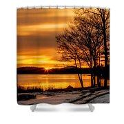 Bronze Winter Dawn Shower Curtain