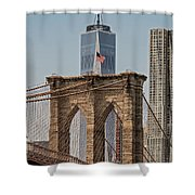 Brooklyn Bridge And One World Trade Center In New York City  Shower Curtain