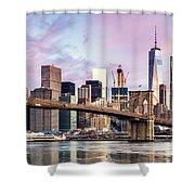 Brooklyn Bridge And Skyline At Sunrise, New York, Usa Shower Curtain