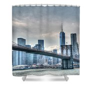 Brooklyn Bridge And The Lower Manhattan Financial District Shower Curtain