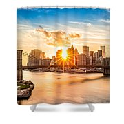 Brooklyn Bridge And The Lower Manhattan Skyline At Sunset Shower Curtain