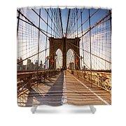 Brooklyn Bridge At Sunset, New York, Usa Shower Curtain
