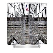 Brooklyn Bridge Flag Shower Curtain