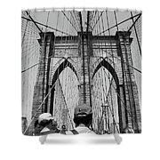 Brooklyn Bridge In Black And White Shower Curtain