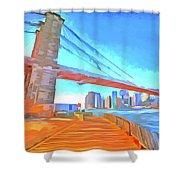 Brooklyn Bridge New York Pop Art Shower Curtain