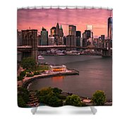 Brooklyn Bridge Over New York Skyline At Sunset Shower Curtain