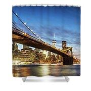 Brooklyn Bridge Panoramic At Night, New York, Usa Shower Curtain