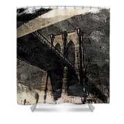 Brooklyn Bridge Reflection Abstract Shower Curtain