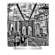 Brooklyn Bridge Walkway   B  And  W Shower Curtain