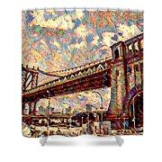 Brooklyn Bridge Watercolor Shower Curtain