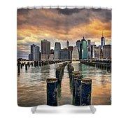 Brooklyn Pilings   Shower Curtain