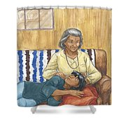 Brother Wolf - Grandmother's Lap Shower Curtain by Brandy Woods