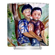 Brothers Bonding Shower Curtain