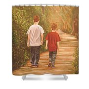 Brothers Into The Woods Shower Curtain