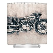 Brough Superior Ss100 - 1924 - Motorcycle Poster - Automotive Art Shower Curtain