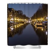 Brouwersgracht Canal In Amsterdam At Night. Shower Curtain