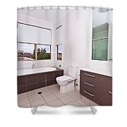 Brown And White Bathroom Shower Curtain