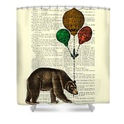 Brown Bear With Balloons Shower Curtain