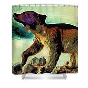 Brown Bear Pose Shower Curtain
