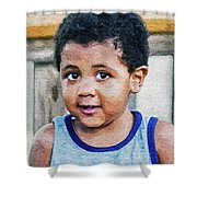 Brown Child - Paint Fx Shower Curtain